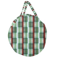 Fabric Textile Texture Green White Giant Round Zipper Tote