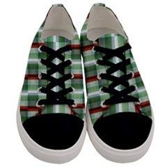 Fabric Textile Texture Green White Men s Low Top Canvas Sneakers