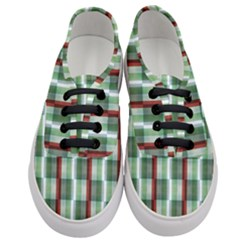 Fabric Textile Texture Green White Women s Classic Low Top Sneakers