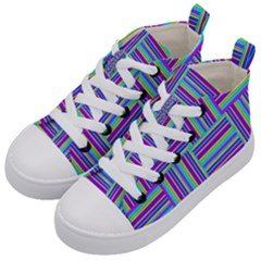 Geometric Textile Texture Surface Kid s Mid Top Canvas Sneakers by Nexatart