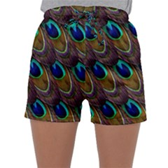 Peacock Feathers Bird Plumage Sleepwear Shorts