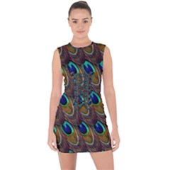 Peacock Feathers Bird Plumage Lace Up Front Bodycon Dress by Nexatart