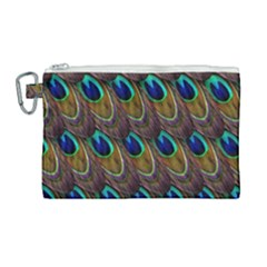 Peacock Feathers Bird Plumage Canvas Cosmetic Bag (large) by Nexatart
