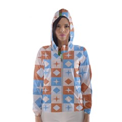Fabric Textile Textures Cubes Hooded Wind Breaker (women)