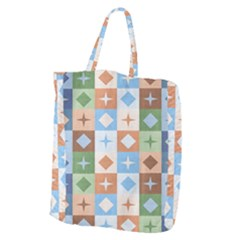 Fabric Textile Textures Cubes Giant Grocery Zipper Tote