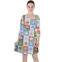 Fabric Textile Textures Cubes Ruffle Dress