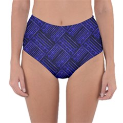 Cobalt Blue Weave Texture Reversible High Waist Bikini Bottoms