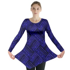 Cobalt Blue Weave Texture Long Sleeve Tunic  by Nexatart