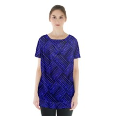 Cobalt Blue Weave Texture Skirt Hem Sports Top