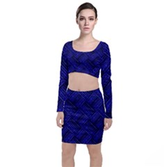 Cobalt Blue Weave Texture Long Sleeve Crop Top & Bodycon Skirt Set by Nexatart