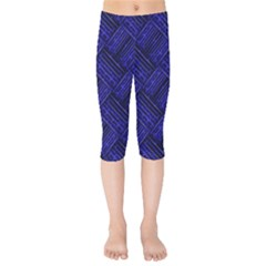 Cobalt Blue Weave Texture Kids  Capri Leggings