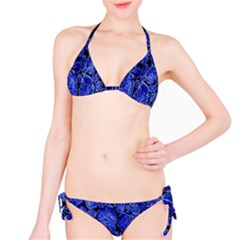 Neon Abstract Cobalt Blue Wood Bikini Set
