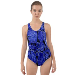Neon Abstract Cobalt Blue Wood Cut Out Back One Piece Swimsuit