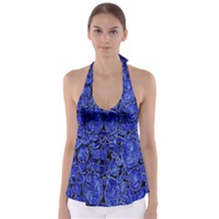 Neon Abstract Cobalt Blue Wood Babydoll Tankini Top