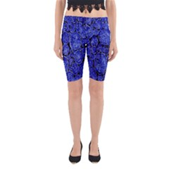 Neon Abstract Cobalt Blue Wood Yoga Cropped Leggings