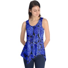 Neon Abstract Cobalt Blue Wood Sleeveless Tunic