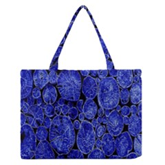 Neon Abstract Cobalt Blue Wood Zipper Medium Tote Bag by Nexatart