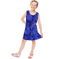 Neon Abstract Cobalt Blue Wood Kids  Tunic Dress