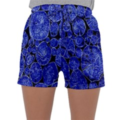 Neon Abstract Cobalt Blue Wood Sleepwear Shorts