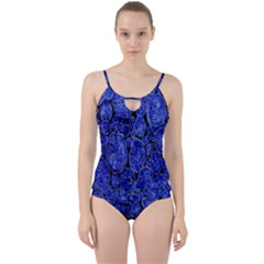 Neon Abstract Cobalt Blue Wood Cut Out Top Tankini Set