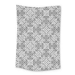 Black And White Oriental Ornate Small Tapestry