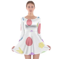 Easter Patches  Long Sleeve Skater Dress