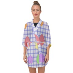 Easter Patches  Half Sleeve Chiffon Kimono by Valentinaart