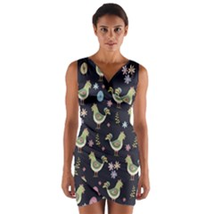 Easter Pattern Wrap Front Bodycon Dress