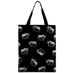 Rhino Pattern Zipper Classic Tote Bag by Valentinaart