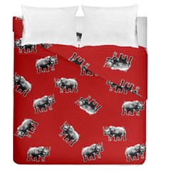 Rhino Pattern Duvet Cover Double Side (queen Size) by Valentinaart