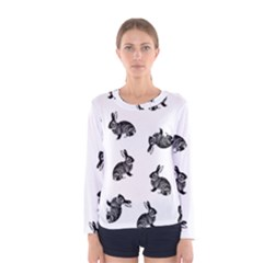 Rabbit Pattern Women s Long Sleeve Tee