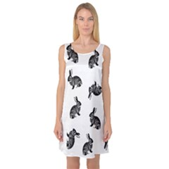 Rabbit Pattern Sleeveless Satin Nightdress