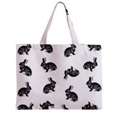 Rabbit Pattern Zipper Medium Tote Bag by Valentinaart
