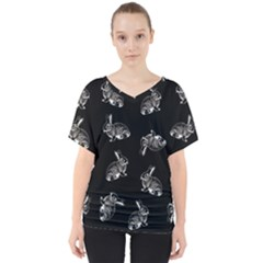 Rabbit Pattern V Neck Dolman Drape Top