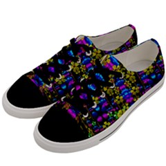 Flowers In The Most Beautiful  Dark Men s Low Top Canvas Sneakers by pepitasart