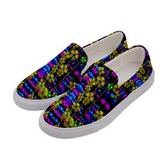Flowers In The Most Beautiful  Dark Women s Canvas Slip Ons by pepitasart