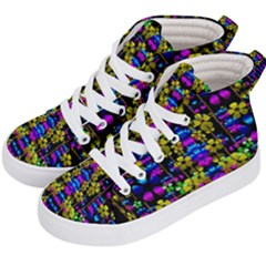 Flowers In The Most Beautiful  Dark Kid s Hi Top Skate Sneakers by pepitasart