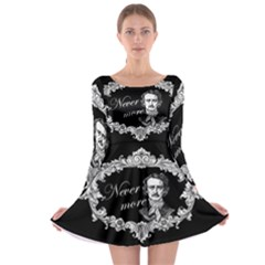 Edgar Allan Poe    Never More Long Sleeve Skater Dress by Valentinaart