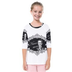 Edgar Allan Poe    Never More Kids  Quarter Sleeve Raglan Tee by Valentinaart