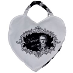 Edgar Allan Poe    Never More Giant Heart Shaped Tote by Valentinaart