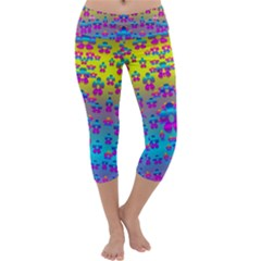 Flowers In The Most Beautiful Sunshine Capri Yoga Leggings by pepitasart
