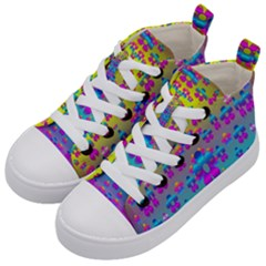 Flowers In The Most Beautiful Sunshine Kid s Mid Top Canvas Sneakers by pepitasart