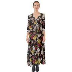 Floral Button Up Boho Maxi Dress by CasaDiModa