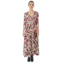 Roses  Button Up Boho Maxi Dress by CasaDiModa