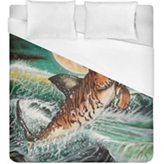 Tiger Shark Duvet Cover (king Size) by redmaidenart