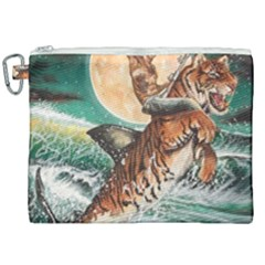Tiger Shark Canvas Cosmetic Bag (xxl) by redmaidenart