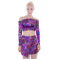 Purple Tie Dye Madness  Off Shoulder Top With Mini Skirt Set by KirstenStar