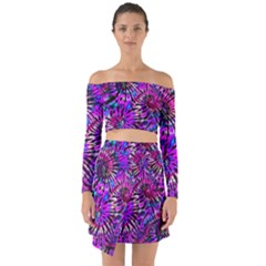 Purple Tie Dye Madness  Off Shoulder Top With Skirt Set by KirstenStar
