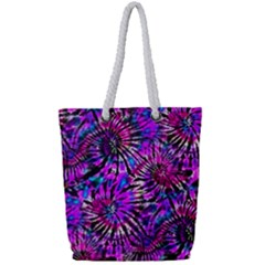 Purple Tie Dye Madness  Full Print Rope Handle Tote (small) by KirstenStar