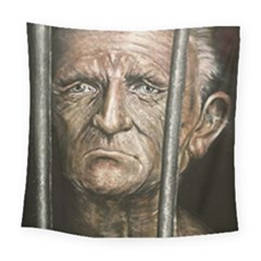 Old Man Imprisoned Square Tapestry (large) by redmaidenart